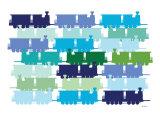 Cool Train Pattern Premium Giclee-trykk av  Avalisa