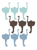 Blue Ostrich Family Posters by  Avalisa