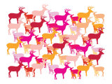 Warm Deer Pattern Posters by  Avalisa