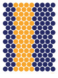 Blue Orange Dots Kunstdruck von Avalisa