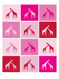 Pink Giraffe Squares Poster by Avalisa 