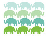 Green Elephant Family Poster by  Avalisa
