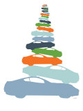 Colorful Car Pile Up Print by  Avalisa