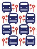 Blue Bus Stop Affiche par  Avalisa