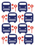 Blue Bus Stop Print by  Avalisa