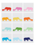 Rainbow Grey Rhinos Posters by  Avalisa