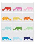 Rainbow Grey Rhinos Posters by  Avalisa