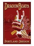 Portland, Oregon, Dragon Boats Scene Poster by  Lantern Press