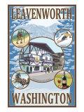 Leavenworth, Washington, Collage Posters by  Lantern Press