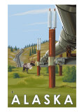 Alaska, Alaskan Pipeline Scene Prints by  Lantern Press
