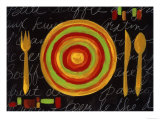 Striped Plate- Yellow Reproduction proc&#233;d&#233; gicl&#233;e par Susan Gillette