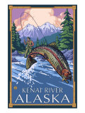 Fly Fishing Scene, Kenai River, Alaska Posters by  Lantern Press