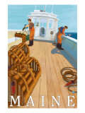 Maine, Lobster Fishing Boat Scene Poster by  Lantern Press