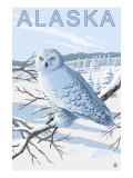 Alaska, Snowy Owl Scene Prints by  Lantern Press