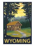 Wyoming, Cabin Scene Prints by  Lantern Press