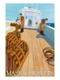 Massachusetts, Lobster Fishing Boat Scene Print by  Lantern Press