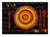 Striped Plate- Orange Reproduction proc&#233;d&#233; gicl&#233;e par Susan Gillette