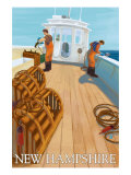 New Hampshire, Lobster Fishing Boat Scene Prints by  Lantern Press