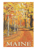 Maine, Fall Colors Scene Prints by  Lantern Press
