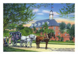 Exterior View of the Old Capitol Building with a Horse-Drawn Coach, Williamsburg, Virginia Posters