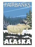 Fairbanks, Alaska, Albino Moose Scene Posters by  Lantern Press