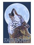 Fairbanks, Alaska, Howling Wolf Scene Prints