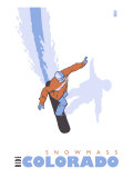 Snowmass, Colorado, Snowboard Stylized Print by  Lantern Press
