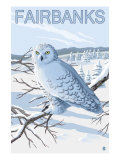 Fairbanks, Alaska, Snowy Owl Scene Posters by  Lantern Press