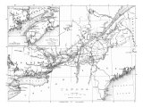 Canada, Detailed Map of Eastern Canada, New Brunswick, and Nova Scotia Prints by  Lantern Press