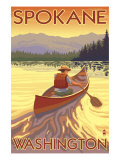Spokane, Washington, Canoe Scene Prints by  Lantern Press