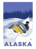 Lantern Press - Alaska, Snowmobile Scene Plakát