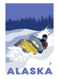 Lantern Press - Alaska, Snowmobile Scene - Poster