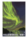 Yellowknife, NW Territories, Canada, Northern Lights and Orca Print by  Lantern Press