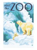 Visit the Zoo, Polar Bear and Cub Prints by  Lantern Press