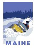Maine, Snowmobile Scene Posters