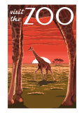 Visit the Zoo, Giraffe Scene Poster