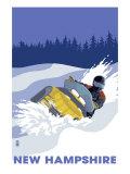 New Hampshire, Snowmobile Scene Poster