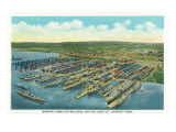 Newport News, Virginia, Aerial View of the Newport News Shipbuilding and Dry Dock Co. Posters by  Lantern Press