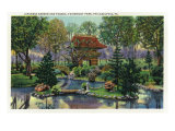 Philadelphia, Pennsylvania, Fairmount Park View of the Japanese Garden, Pagoda Print by  Lantern Press