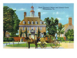 Exterior View of the Royal Governor's Palace and Colonial Coach, Williamsburg, Virginia Prints
