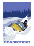 Connecticut, Snowmobile Scene Prints by  Lantern Press