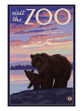 Visit the Zoo, Bear and Cub Posters by  Lantern Press