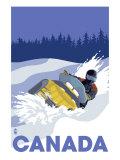 Canada, Snowmobile Scene Sztuka autor Lantern Press