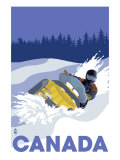 Canada, Snowmobile Scene Art by  Lantern Press