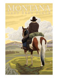 Montana, Last Best Place, Cowboy on Horseback Print by  Lantern Press