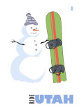 Utah, Snowman with Snowboard Prints by  Lantern Press