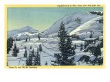 Alta, Utah, Aerial View of a Snowy Amphitheatre, Skiers Skiing Prints