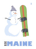 Maine, Snowman with Snowboard Posters by  Lantern Press