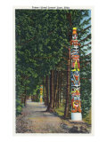 Sitka, Alaska, View of Totem Poles Lined up along Lovers' Lane Prints by  Lantern Press