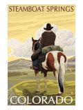 Steamboat Springs, Colorado, Cowboy on Horseback Prints